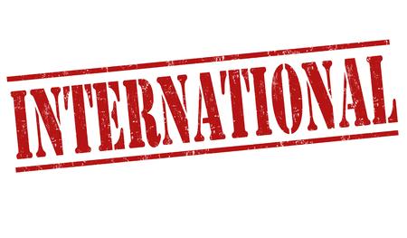 negocios internacionales: sello de goma del grunge Internacional sobre fondo blanco, ilustración vectorial Vectores