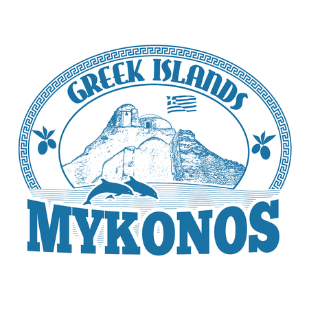 Greek Islands, Mykonos, stamp or label on white background, vector illustration Ilustração