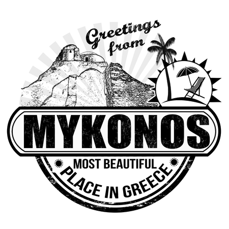 greek islands: Greetings from Mykonos, stamp or label on white background, vector illustration