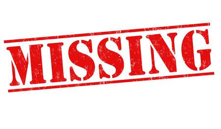 Missing grunge rubber stamp on white background, vector illustration