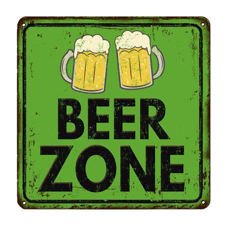 Beer zone vintage rusty metal sign on a white background, vector illustration Illustration