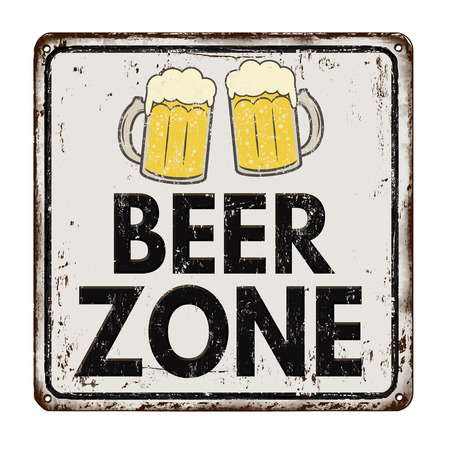 rusty: Beer zone vintage rusty metal sign on a white background, vector illustration Illustration