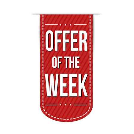 red ribbon week: Offer of the week banner design over a white background, vector illustration Illustration