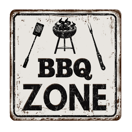 vintage sign: BBQ Barbecue zone vintage rusty metal sign on a white background, vector illustration