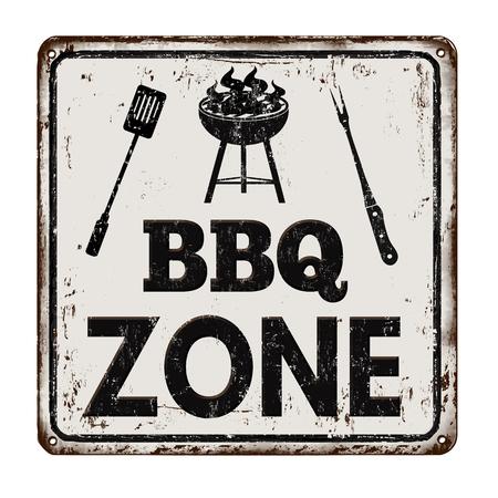 BBQ Strefa Grillowa zabytkowe zardzewiały metalowy znak na białym tle, ilustracji wektorowych