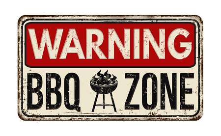 Warning BBQ Barbecue zone vintage rusty metal sign on a white background, vector illustration Vettoriali