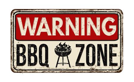 Attenzione barbecue zona barbecue segno d'epoca metallo arrugginito su uno sfondo bianco, illustrazione vettoriale