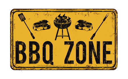 BBQ Barbecue zone vintage rusty metal sign on a white background, vector illustration