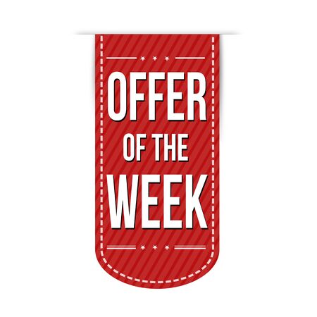 red ribbon week: Offer of the week banner design over a white background, vector illustration Stock Photo