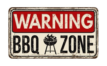 rusty metal: Warning BBQ Barbecue zone vintage rusty metal sign on a white background, vector illustration Stock Photo