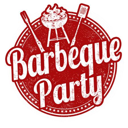 Barbecue partito grunge timbro di gomma su sfondo bianco
