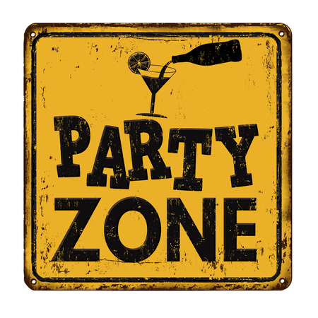 vintage sign: Party zone vintage rusty metal sign on a white background