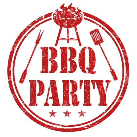 grilling: Barbecue party grunge rubber stamp on white background
