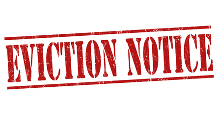 evicted: Eviction notice grunge rubber stamp on white background, vector illustration
