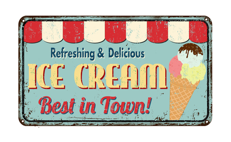 Ice cream vintage rusty metal sign on a white background, vector illustration