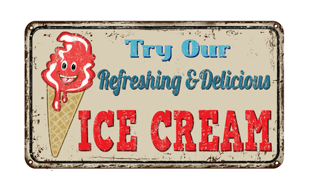 rusty metal: Ice cream vintage rusty metal sign on a white background, vector illustration