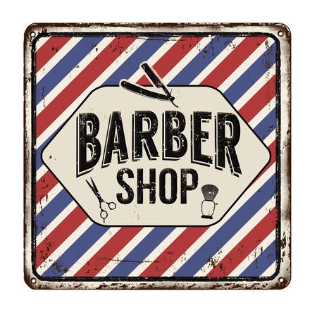 pole: Barber shop on vintage rusty metal sign on a white background, vector illustration