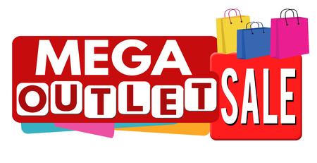 outlet: Mega outlet sale banner or label for business promotion, on white background,vector illustration