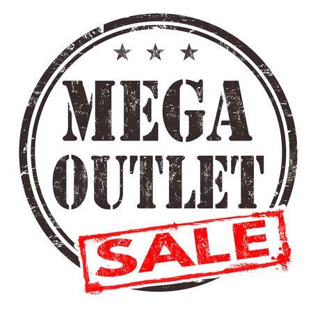 rebates: Mega outlet sale grunge rubber stamp on white background, vector illustration Illustration