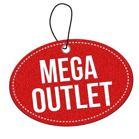 rebates: Mega outlet red leather label or price tag on white background, vector illustration Illustration