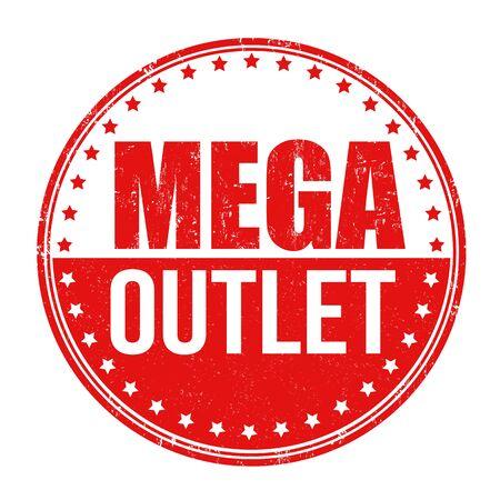 outlet: Mega outlet grunge rubber stamp on white background, vector illustration