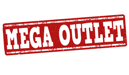 rebates: Mega outlet grunge rubber stamp on white background, vector illustration