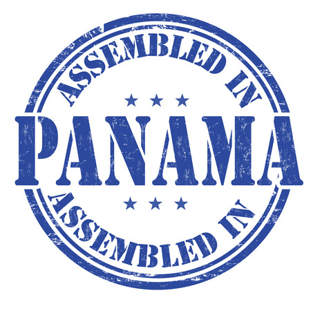 exported: Assembled in Panama grunge rubber stamp on white background, vector illustration