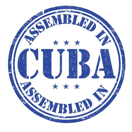 assembled: Assembled in Cuba grunge rubber stamp on white background, vector illustration Illustration