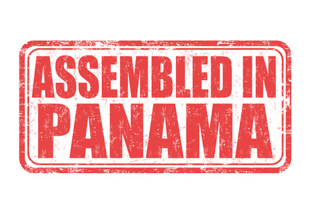 assemble: Assembled in Panama grunge rubber stamp on white background, vector illustration