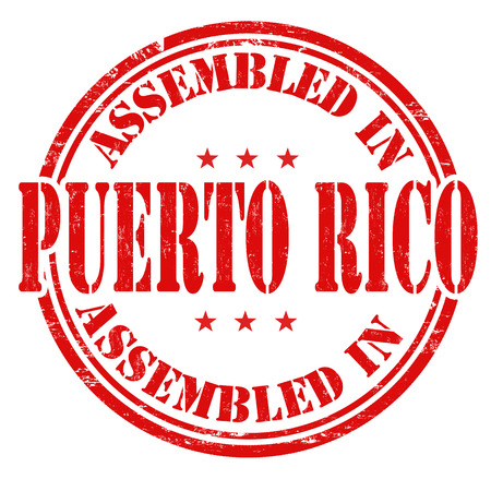 assembled: Assembled in Puerto Rico grunge rubber stamp on white background, vector illustration