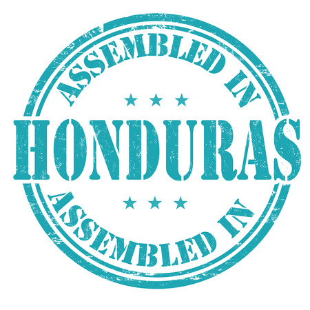 made manufacture manufactured: Assembled in Honduras grunge rubber stamp on white background, vector illustration