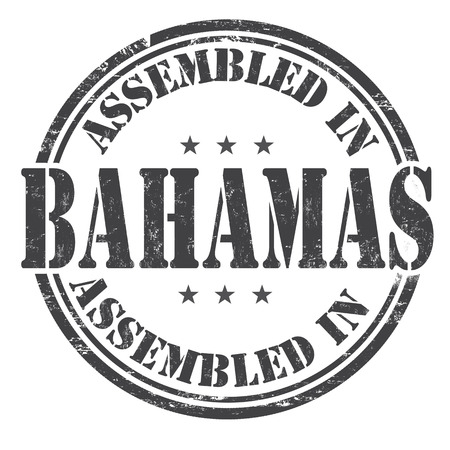 made manufacture manufactured: Assembled in Bahamas grunge rubber stamp on white background, vector illustration