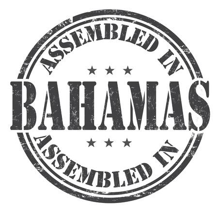 assembled: Assembled in Bahamas grunge rubber stamp on white background, vector illustration