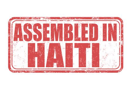 assembled: Assembled in Haiti grunge rubber stamp on white background, vector illustration Illustration