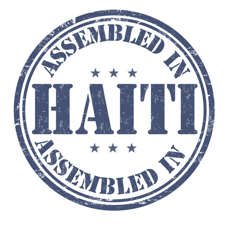 made manufacture manufactured: Assembled in Haiti grunge rubber stamp on white background, vector illustration Illustration
