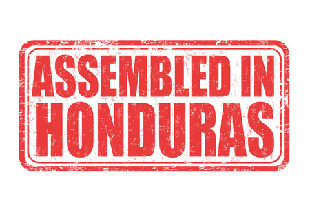 assembled: Assembled in Honduras grunge rubber stamp on white background, vector illustration