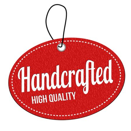 handcrafted: Handcrafted red leather label or price tag on white background, vector illustration Illustration