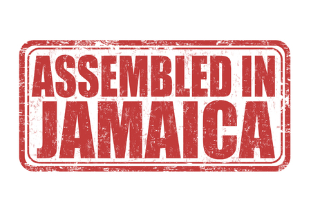 manufactured: Assembled in Jamaica grunge rubber stamp on white background, vector illustration Illustration