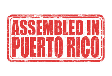 made manufacture manufactured: Assembled in Puerto Rico grunge rubber stamp on white background, vector illustration