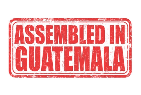 assembled: Assembled in Guatemala grunge rubber stamp on white background, vector illustration