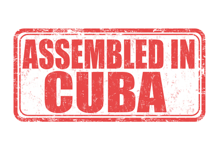 made manufacture manufactured: Assembled in Cuba grunge rubber stamp on white background, vector illustration Illustration