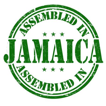 assembled: Assembled in Jamaica grunge rubber stamp on white background, vector illustration Illustration