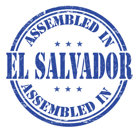 el salvador: Assembled in El Salvador grunge rubber stamp on white background, vector illustration Illustration