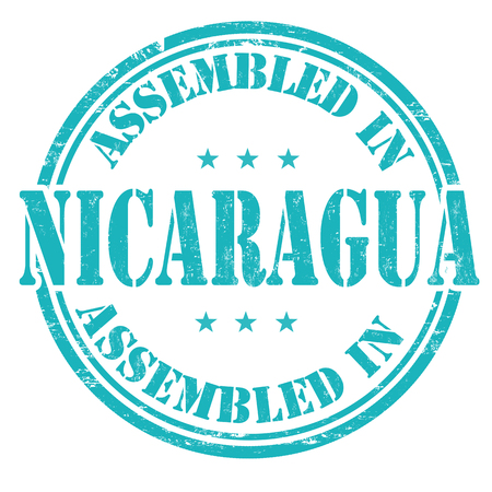 made manufacture manufactured: Assembled in Nicaragua grunge rubber stamp on white background, vector illustration Illustration