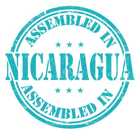 assembled: Assembled in Nicaragua grunge rubber stamp on white background, vector illustration Illustration