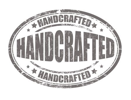 handcrafted: Handcrafted grunge rubber stamp on white background, vector illustration