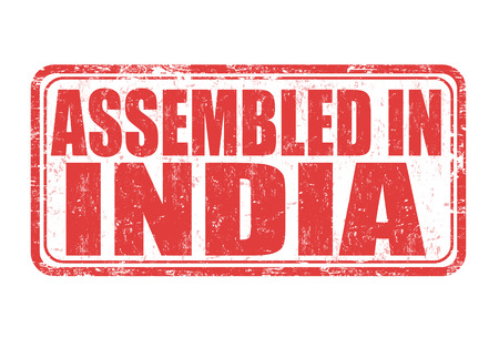 assembled: Assembled in India grunge rubber stamp on white background, vector illustration