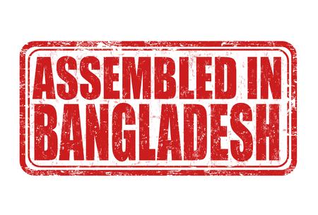 assembled: Assembled in Bangladesh grunge rubber stamp on white background, vector illustration Illustration