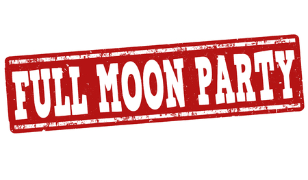 night club: Full moon party grunge rubber stamp on white background, vector illustration Illustration