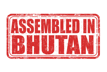 manufactured: Assembled in Bhutan grunge rubber stamp on white background, vector illustration Illustration
